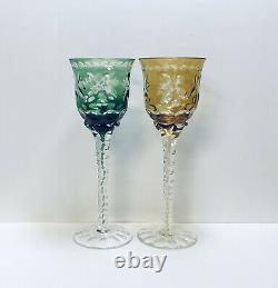 Set 4 Bohemian Red Green Purple Yellow Cut To Clear Crystal Wine Glasses