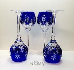 Set 4 Star Of Midnight Cobalt Blue Cased Cut To Clear Crystal Wine Glass Hocks