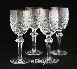Set 4 WATERFORD CUT GLASS IRISH CRYSTAL Powerscourt WINE CLARET GOBLETS 7 1/8
