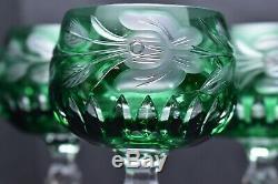Set 5 Bohemian Czech Cut To Clear Crystal Wine Hocks Goblet Stem Glasses Green