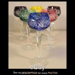 Set 6 Bohemian Czech Crystal Cut Color to Clear Wine Hock Glasses