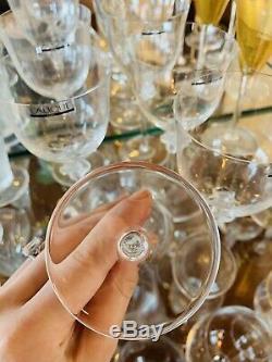 Set 6 Lalique Paris Crystal Art Glass Tall Wine Flutes Glasses