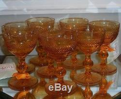 Set 8 Antique American Brilliant Amber Cut Glass Crystal Port Wine Sherry Stems