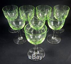 Set 8 Vintage Holmegaard Cut Crystal Edith White Wine Glasses Uranium UV Glow