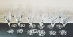 Set/Lot of 12 Royal Doulton English Crystal Wine Glasses Champagne Flutes