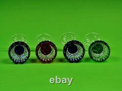 Set Of 4 AJKA King Louis cased Mouth-Blown Hand cut to clear crystal Wine Goblet