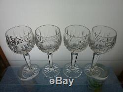 Set Of 4 Waterford Lismore Wine Hocks 7-3/8 / 6 Oz Pristine Condition