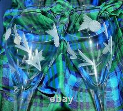Set Of 6 Gleneagles St Andrews Stemware Lead Cut Crystal Red Wine Glasses New
