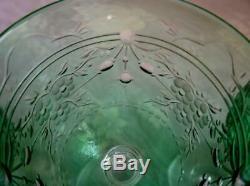 Set Of 6 Green Wheel Cut Crystal 6 Oz Wine Glasses Flowers & Foliage Webb