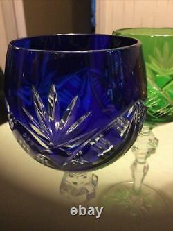 Set Of 6 Multi Color Cut To Clear Bohemian Crystal Wine Glasses
