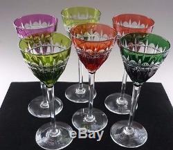 Set Of 6 Val St Lambert Overrlay Cut Crystal Hock Wine Glasses