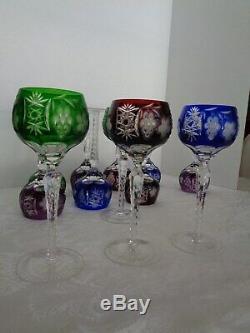Set Of 8 Ajka Marsala Cut To Cler Crystal Wine Goblet Glasses 8 1/4 Tall
