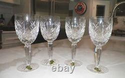 Set Of Four (4) Waterford Crystal Wine Glasses 6 1/2 Tall