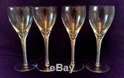 Set Of Four Stuart Crystal Iona Wine Glasses 17cm Air Twist Stems Signed