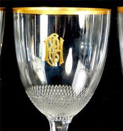 Set Of Small Wine Glasses Gilt Monogram Royal Pattern Moser