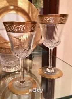 Set Six (6) ST LOUIS Crystal THISTLE 7 Gold Continental Goblets Wine Glasses
