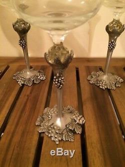 Set Vintage Crystal Wine Glasses Pewter Stems Grape and Leaf Motif