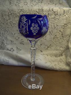 Set of 12 Ajka Marsala Cut to Clear Crystal Wine Hocks 8-1/4