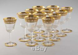 Set of 12 Saint St Louis Thistle crystal 6 3/8 Burgundy wine glasses