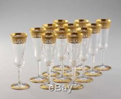 Set of 12 Saint St Louis Thistle crystal Champagne glasses