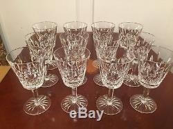 Set of 12 True Vintage WATERFORD CRYSTAL Lismore 6 oz Wine Glasses 5-7/8