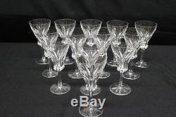 Set of 13 Villeroy & Boch Crystal Tulip Wine Glasses withCut Foot, Hand Etched VB