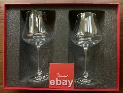 Set of 2 Baccarat Crystal White Wine Glasses