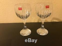Set of 2 Baccarat France Crystal Massena 7 Wine Glasses NIB NEVER USED