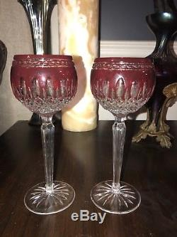 Set of 2 Waterford Crystal CLARENDON Wine Hocks Goblets Ruby Red Cut to Clear 8