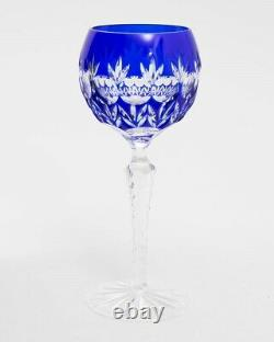 Set of 4 Czech Bohemian Cased Crystal 8 Tall Wine Goblet Glasses Cut to Clear