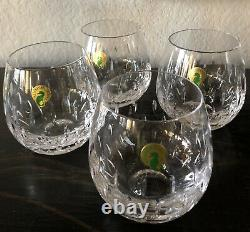 Set of 4 WATERFORD Crystal STEMLESS Wine GLASSES New with Waterford Tags