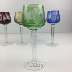 Set of (5) Ajka Bohemian Crystal Wine Hock Glasses Marsala Cut to Clear