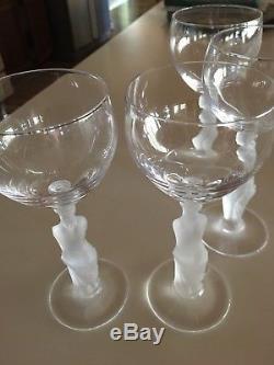 Set of 5 Bayel France Crystal Venus De Milo Long Stem Wine Glasses