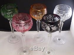 Set of 5 Bohemian Czech Cut to Clear Crystal Wine Goblets Multi Color 8 1/4