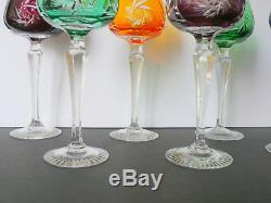 Set of 6 Bohemian Multicolored Cut To Clear Crystal Hocks Wine Glasses 7 5/8