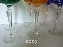 Set of 6 Czech Bohemian Multi-Color Crystal Wine Glasses