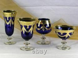 Set of 6 Interglass Italy Crystal Glasses Cobalt Blue Italian Champagne Flutes