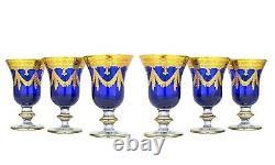 Set of 6 Interglass Italy Crystal Glasses Cobalt Blue Italian Wine Goblets
