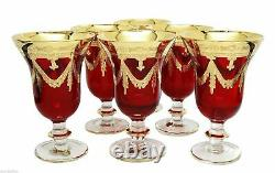 Set of 6 Interglass Italy Crystal Glasses Ruby Red Italian Wine Goblets