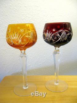 Set of 6 Rainbow AJKA Cut to Clear Lead Crystal Wine Glasses BOHEMIAN Germany