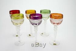 Set of 6 Vintage Cut Crystal Colored Wine Goblets 7.9inch E/0103