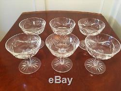 Set of 6 Vintage WATERFORD CRYSTAL Ashling Champagne Wine Sherbet Glasses