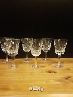 Set of 6 Vintage Waterford Lismore Crystal Water Goblets Stemware 10 Oz
