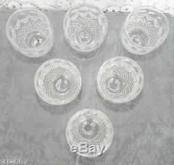 Set of 6 Waterford Crystal Colleen Short Stem White Wine Goblets 9 Ounce Glasses