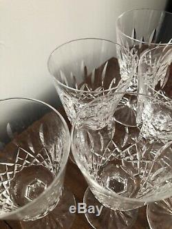 Set of 6 Waterford Crystal Lismore Tall Water Wine Stem Goblets Glasses 6-7/8