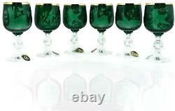 Set of 6 Wine Glasses 24 K GOLD GREEN Engraved BOHEMIA GLASS, Animals Hunters New