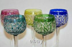 Set of 7 Saint Louis RIESLING Lime Peridot case cut to clear crystal Wine Goblet