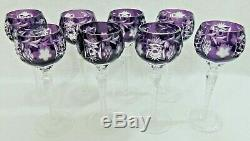 Set of 8 Ajka Marsala Amethyst Cut to Clear Crystal Wine Hock Goblet Glasses