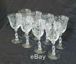 Set of 8 Fostoria NAVARRE Crystal Wine Goblet Glasses 6 1/2 Signed