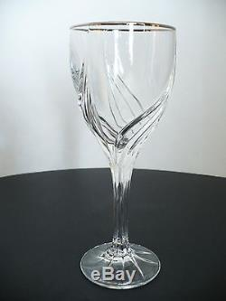 Set of 8 Lenox Crystal Glass Stemware Wine Beverage Goblets Platinum Tone Rim